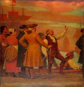 Landing of New Englanders on the Banks of the Passaic River(Left)
